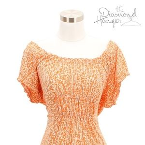 A103 MICHAEL KORS Designer Dress Size XL Orange Wh
